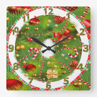 christmas tree wreath clock with cute decorations