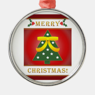 Christmas Tree Yellow Ribbon Round Silver Framed Christmas Ornaments