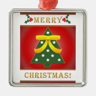 Christmas Tree Yellow Ribbon Square Silver Framed Christmas Ornament