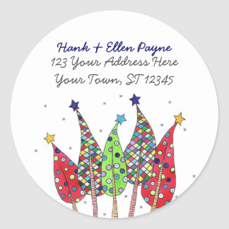 Christmas Trees Address Labels Classic Round Sticker
