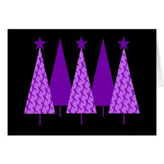 Christmas Trees - Alzheimers Purple Ribbon Card