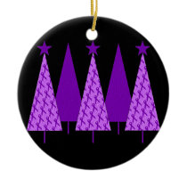 Christmas Trees - Alzheimers Purple Ribbon Ceramic Ornament