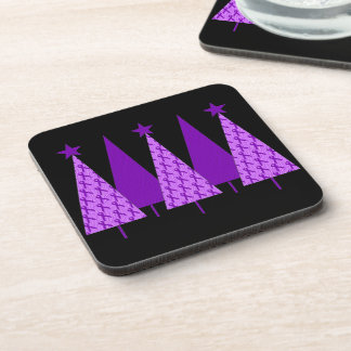 Christmas Trees - Alzheimers Purple Ribbon Drink Coaster