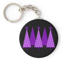 Christmas Trees - Alzheimers Purple Ribbon Keychain