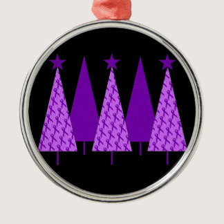 Christmas Trees - Alzheimers Purple Ribbon Metal Ornament