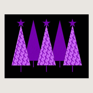 Christmas Trees - Alzheimers Purple Ribbon Postcard