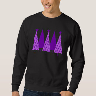 Christmas Trees - Alzheimers Purple Ribbon Sweatshirt