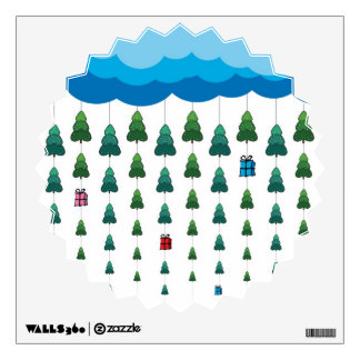 Christmas Trees and Gifts Rain Wall Sticker