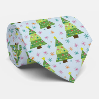 Christmas Trees and Snowflakes Repeat Pattern Tie