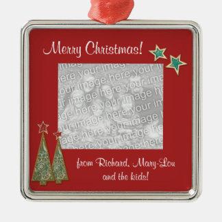 Christmas Trees and Stars-Family Photo Metal Ornament