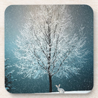 Christmas Trees at Night Drink Coaster