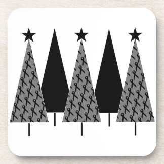 Christmas Trees - Black Ribbon Drink Coaster