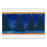 christmas trees-blue&gold painting greeting cards