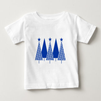 Christmas Trees - Blue Ribbon Colon Cancer Baby T-Shirt