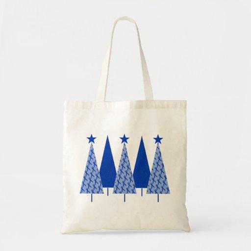 Christmas Trees - Blue Ribbon Colon Cancer Budget Tote Bag