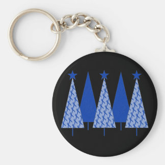Christmas Trees - Blue Ribbon Colon Cancer Basic Round Button Keychain