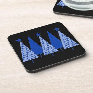 Christmas Trees - Blue Ribbon Colon Cancer Beverage Coaster