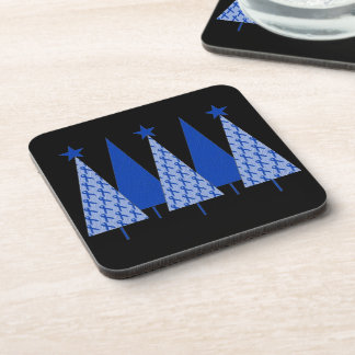 Christmas Trees - Blue Ribbon Colon Cancer Beverage Coaster
