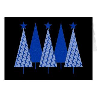 Christmas Trees - Blue Ribbon Colon Cancer Card