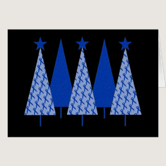Christmas Trees - Blue Ribbon Colon Cancer Card