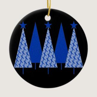 Christmas Trees - Blue Ribbon Colon Cancer Ceramic Ornament