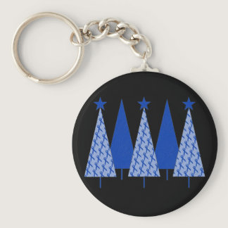 Christmas Trees - Blue Ribbon Colon Cancer Keychain