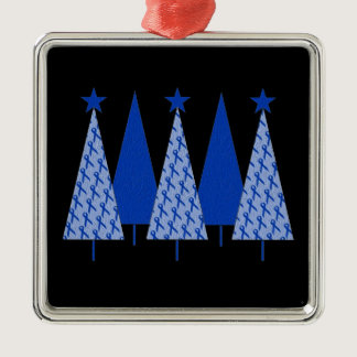 Christmas Trees - Blue Ribbon Colon Cancer Metal Ornament