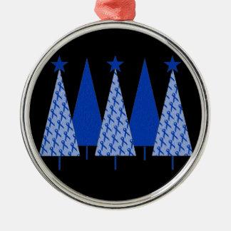 Christmas Trees - Blue Ribbon Colon Cancer Metal Ornament