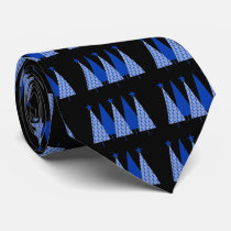 Christmas Trees - Blue Ribbon Colon Cancer Neck Tie