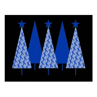 Christmas Trees - Blue Ribbon Colon Cancer Postcard