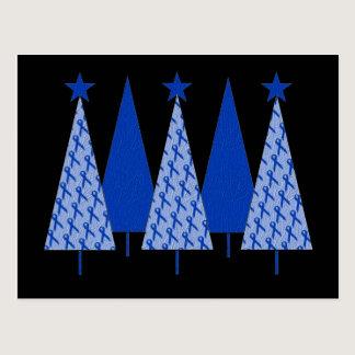 Christmas Trees - Blue Ribbon Colon Cancer Postcard
