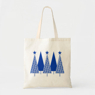 Christmas Trees - Blue Ribbon Colon Cancer Tote Bag