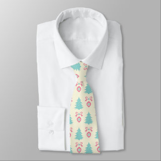 Christmas Trees, Bows & Baubles Retro Pattern Neck Tie