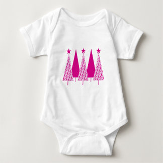 Christmas Trees - Breast Cancer Pink Ribbon Baby Bodysuit