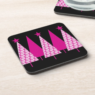 Christmas Trees - Breast Cancer Pink Ribbon Beverage Coaster