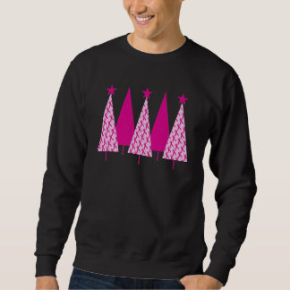 Christmas Trees - Breast Cancer Pink Ribbon Sweatshirt