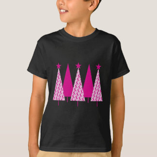 Christmas Trees - Breast Cancer Pink Ribbon T-Shirt