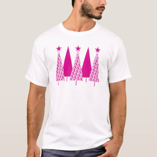 Christmas Trees - Breast Cancer Pink Ribbon T-Shirt