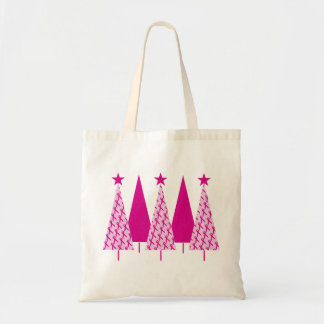 Christmas Trees - Breast Cancer Pink Ribbon Tote Bag