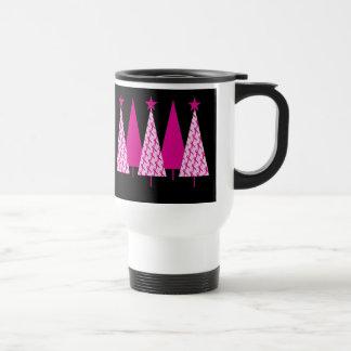 Christmas Trees - Breast Cancer Pink Ribbon Travel Mug