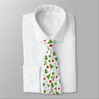 Christmas Trees Candy Canes Stars And Baubles Neck Tie