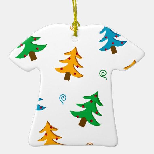 Christmas trees ceramic ornament