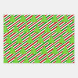 [ Thumbnail: Christmas Trees, Christmas Colors Stripes Wrapping Paper Sheets ]