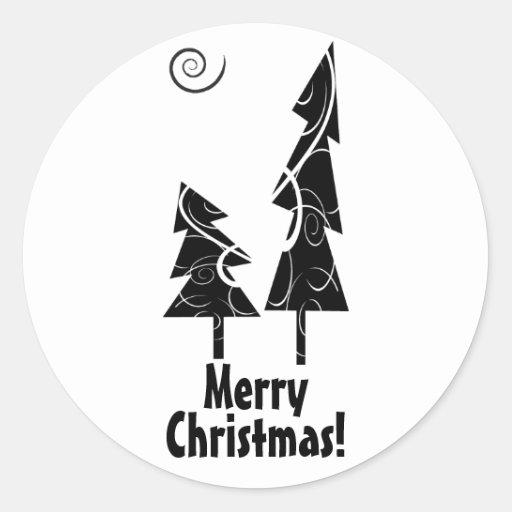 Christmas Trees Classic Round Sticker