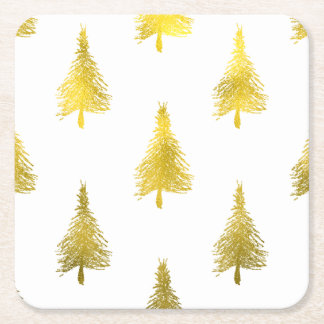 Christmas Trees Faux Gold Foil Holiday Pattern Square Paper Coaster