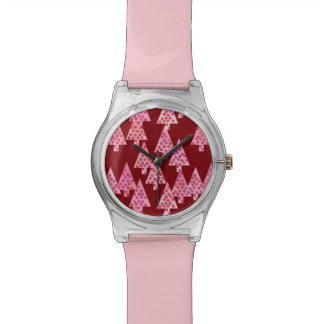 Christmas trees, flowers, modern, pink, burgundy watches