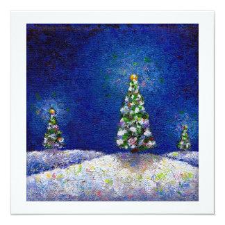 Christmas trees fun colorful original art painting card