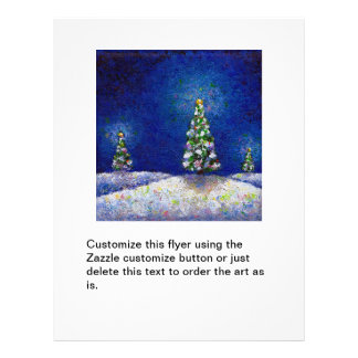 Christmas trees fun colorful original art painting flyer