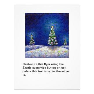 Christmas trees fun colorful original art painting flyer