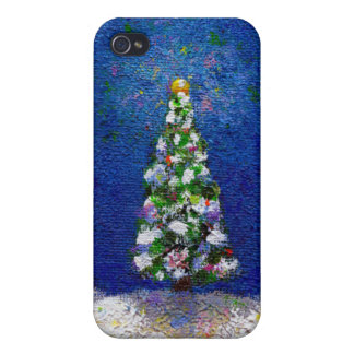 Christmas trees fun colorful original art painting iPhone 4/4S case